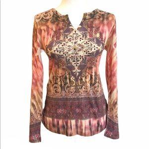 Kiara long sleeve top with rhinestone boho western